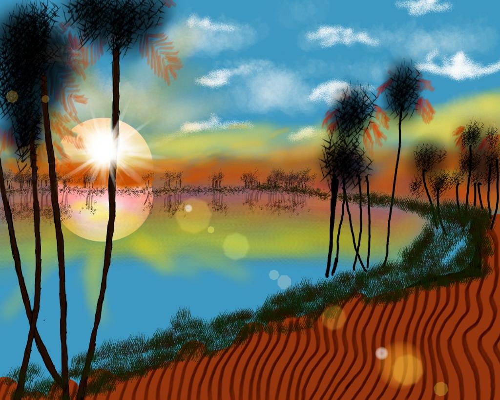 desert oasis drawing - photo #26
