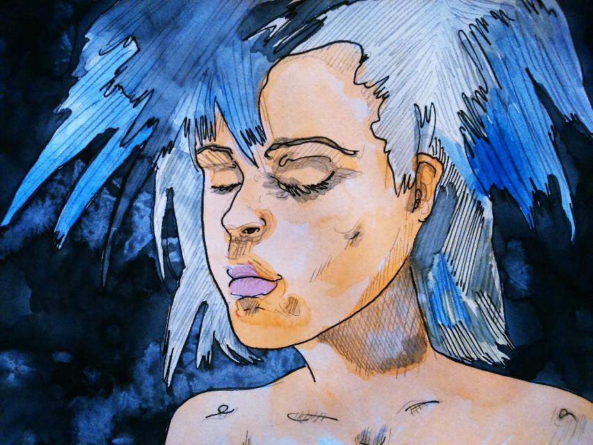 Blue... #pencilart #drawing #watercolour #ink