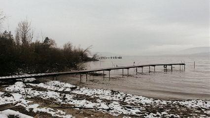 nature winter lake snowscape sepia