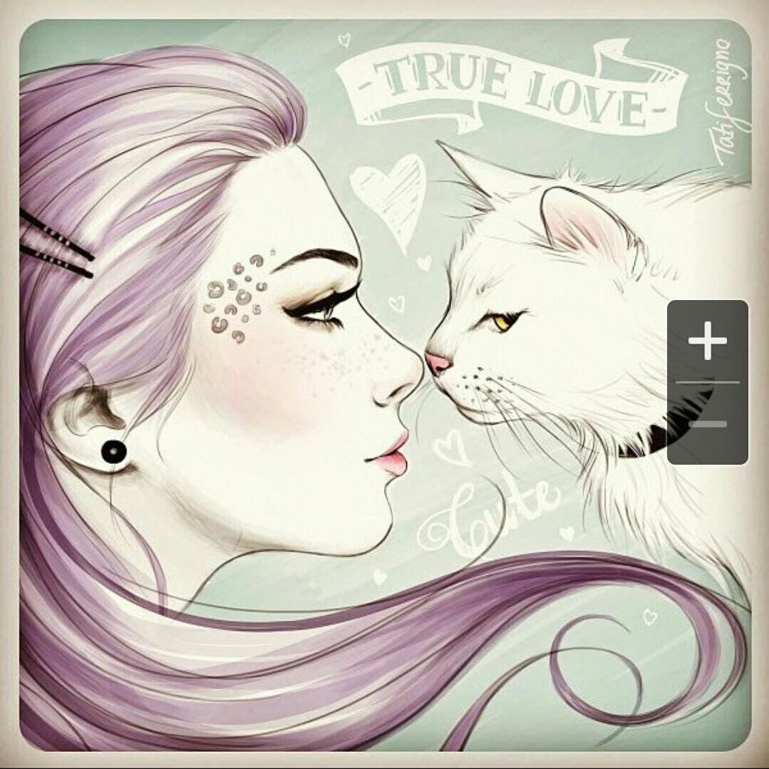 Атласной, картинки красивые девушки нарисованные с кошкой