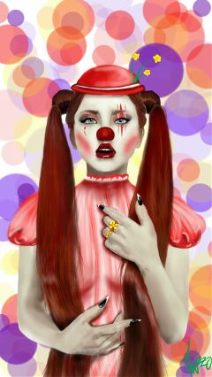 art drawing people love cute clown